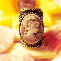 Promotion! Wholesale! Fashion lady women jewelry vintage carved women head portrait alloy finger rings SR349