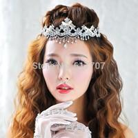 New Arrival Luxurious Silver Tassel Teardrop Bridal Frontlet Crystal Tiara Bridal Hair Accessories Hair Jewelry