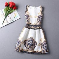 2014 fashion summer jacquard vintage digital print sleeveless vest one-piece dress ZQ038#
