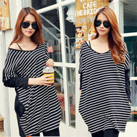 Free shipping 2015 Women Spring Hot Top Fashion White Black Striped Oversized Tees Casual Loose T-Shirt  plus  size