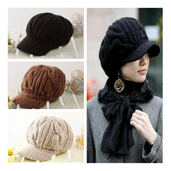 1 пк 3 цвета фуражке кепка женщины шляпа зима шапки вязаные шапки для женщины леди головные уборы
