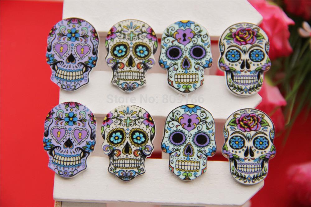 Free shipping! 30 * 21 mm resin hot sell scrapbook , resin skull flat convex circular hair bow center, DIY(China (Mainland))