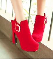 Winter autumn and high-heeled platform women's short boots  Belt buckle