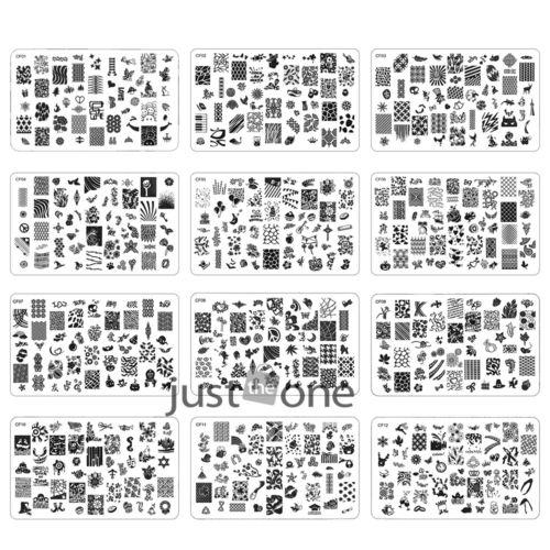 CF01-12 Unique Design Nail Art Image Stamp Plates Polish Stamping Manicu
