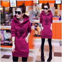 2014 Autumn/Winter Women Clothing letters Students' hoodies long sleeve pockets cotton fleeces warm Sweatshirts M to XXL 1PC