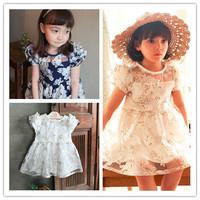 Hu Sunshine wholesale 2014 Summer girl dressTop quality Fly  Organza Flower print leisure princess Dress ZLF111048H