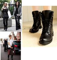 New arrival 2014 Only black color PU cowboy boots combat martin Fashion shoe for women size EU 35-39 flats boot Platform L2436