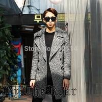New 2014 England yuppie Fashion Herringbone winter wool coat men Large lapel Long section casual men's Woolen Windbreaker jacket
