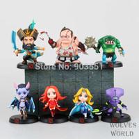 Anime  WOW DOTA 2 Kunkka Lina Pudge Queen Tidehunter CM  FV PVC Action Figures Collection Toys 7pcs/Set Free Shipping