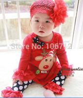Retas package - Dot Tong lotus sleeve suit pants suitail 1set girls fawn festive Christm
