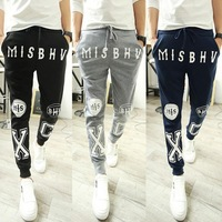 Hot Sale New 2014 Mens Fashion Harem Pants Skull Designed Fitted Sweatpants For Men Hip Hop Loose Pants Male Street Trousers