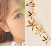 New Arrival Fashion Earrings Sets Korea Gold Plated Small Star Earrings for Women  3pcs/set AME045