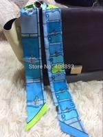 2014 BRAND new 100% real silk 32*2 inch small ribbon belt bind bag headband real shot link chain strips scarf free shipping