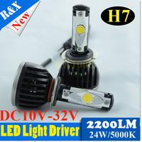 Hotest 1 Set 60W 4400LM 6000K H4 Hi/Lo Beam h7 car led headlight CREE H7 LED  fog lights auto lamp h7 bulb