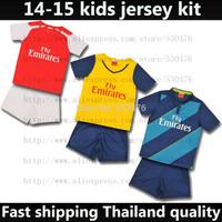 Top Thai Quality new 14 15 kids soccer jersey kit 2015 WELBECK ALEXIS OZIL WILSHERE RAMSEY GIROUD WALCOTT youth football shirt