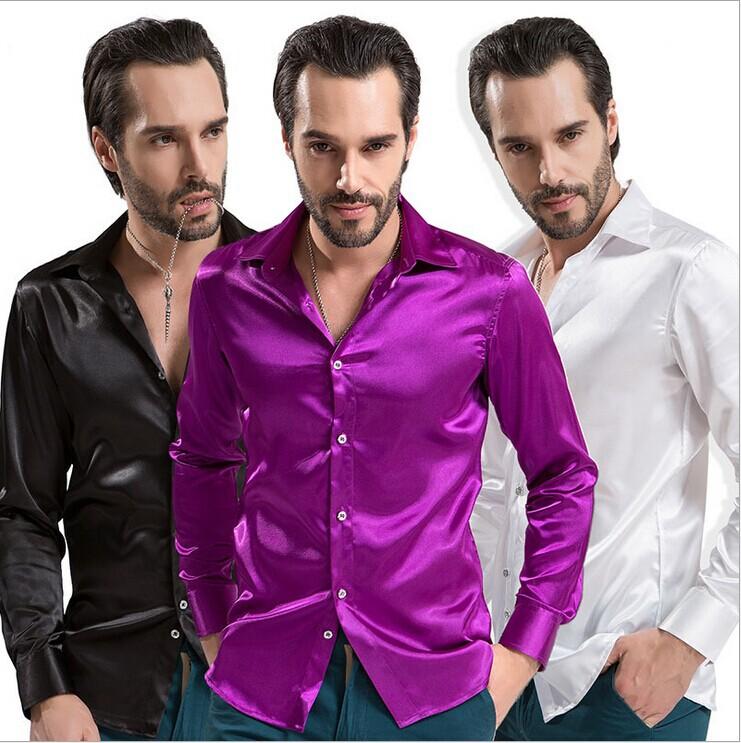 New 2015 Men's Silk Shirts High Quality Men Long Sleeve Fashion Shirt Slim Fit Man Camisa Masculina Casual Clothing(China (Mainland))