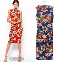 Sleeveless Womens Summer Dress Brands 2014 Floral Print Female Midi Dress Bodycon Knee-Length Vestidos Femininos High Quality
