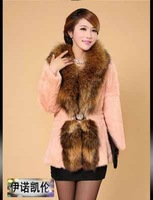 Autumn Ladies' Natural Rabbit Fur Coat Jacket Raccoon Fur Collar Winter Women Fur Trench Outerwear Coats Plus Size VK2217