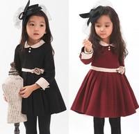 Hu sunshine wholesale 2014 New Preppy Style Long Sleeve 2 Buttons Cotton Girl's Dress Kid Cotton Dress Wine Black WW11111963H