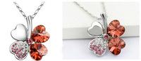 Silver Plated Crystal Peach Heart Lucky Four Leaf Clover Pendant Necklace 64152