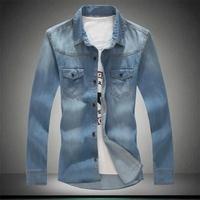 Autumn denim shirt male plus size plus size long-sleeve shirt denim jacket thin outerwear men's clothing XXXXXL