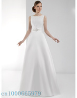Free Shipping sexy Custom-made  ZH-089 Backless High Quality Scoop Satin A-Line Beading Sashes Wedding Dress