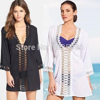 Новый 2015 мода женщины пляж платье сексуальные дамы v-образным вырезом кружева купальники пляж рубашка хлопок бикини прикрыть пляжная одежда