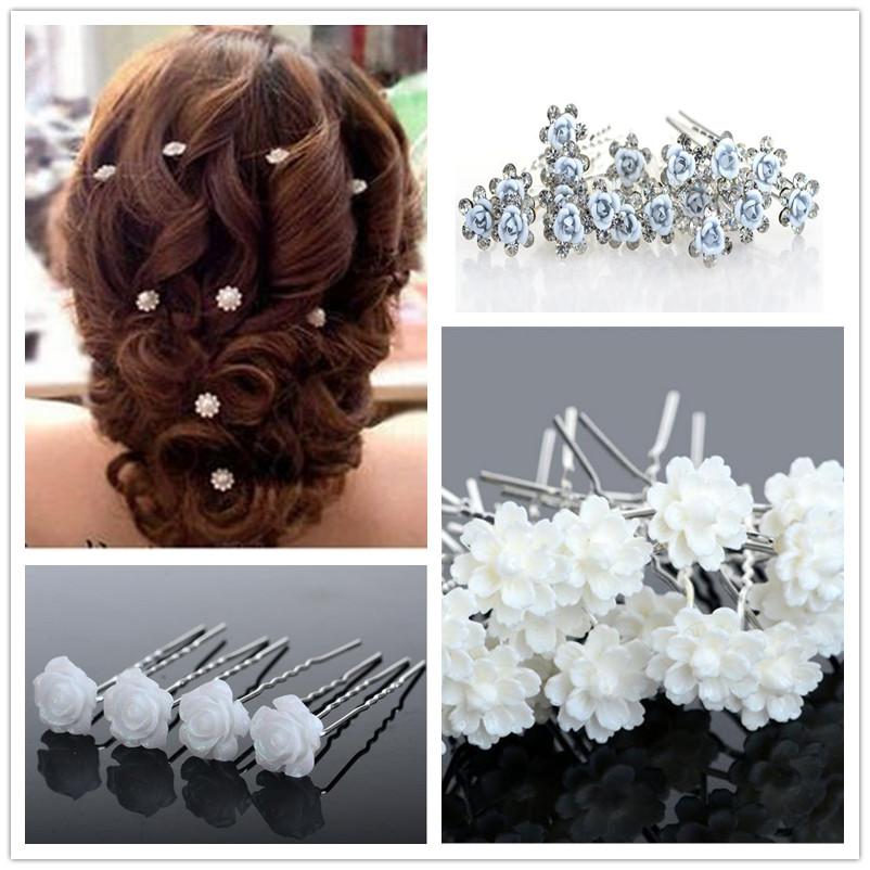 20PCS SET Wholesale Wedding Bridal Pearl Flowers Crystal Hair Pins Clips Bridesmaid Free Shipping