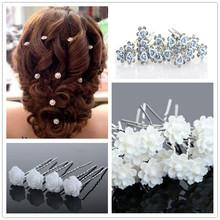 20PCS/SET Wholesale Wedding Bridal Pearl Flowers Crystal Hair Pins Clips Bridesmaid Free Shipping
