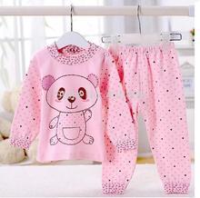 hot selling free shipping 2015 new 100% cotton baby pajamas of the children panda pyjamas kids baby clothing 2 pcs set(China (Mainland))