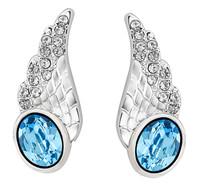 Sumao Women's Angel-wing Shape Stud Earrings Blue
