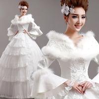 2014 winter lace slit neckline plus cotton long-sleeve winter princess bride wedding dress A396#