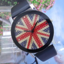 LZ Jewelry Hut DKz1 2014 New Fashion 8 Colors Cusual Brand Rhinestone England Flag Leather Strap Women Dress Watch