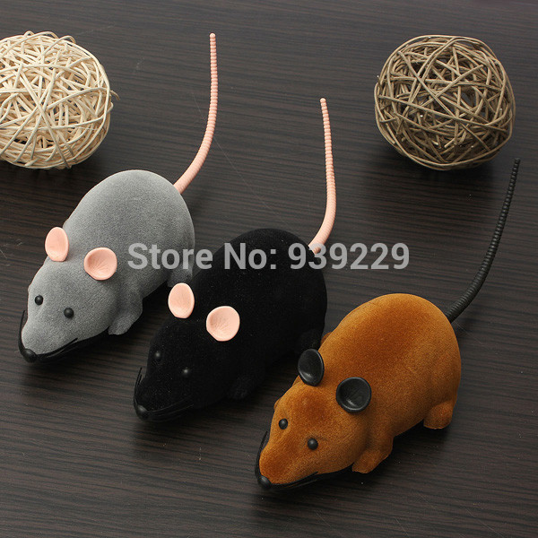 3 Color Remote Control Simulation Mouse Mice Plastic Flocking Wireless For Pet Novelty Present Free Shipping(China (Mainland))