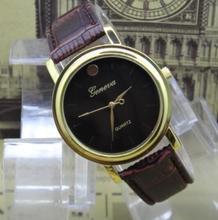 LZ Jewelry Hut DK1102 2014 New Fashion Luxurious Brand Design Geneva Leather Strap Quartz Women Dress Watch