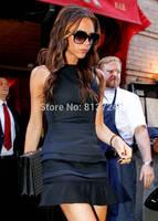 2014 New Hot Sale Victoria Beckham Dress is Sleeveless Design Slim Dress Sexy Mini Ruffled Black Dress S4431