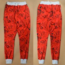2014 new fashion men/women 3D sweatpants print red rose floral Jordan jogging pants autumn/winter running track pants joggers(China (Mainland))