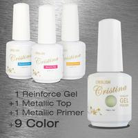 Choose 9 Colors +1 Top+1 Base +1 Reinforced gel Crislish New Led Uv Metallic Gel Set Nail Gel Soak Offf UV Gel Polish 15ml