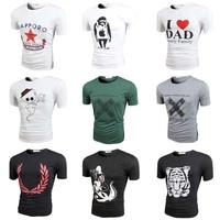 HOT brand New summer men's cotton simple  fashion Printing short-sleeve T-shirt o-neck Casual  men's tops t shirt M-2XL