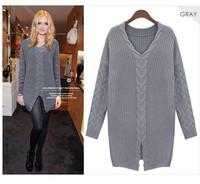 2014 new casual women vintage long sleeve hemp flower knitwear sweater V-neck bottom open fork sexy long sweater pullovers