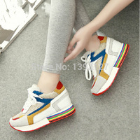 2014 autumn female shiny cowhide low-top sneakers height Increased, breathable fashionable Genuine leather lace casual shoes
