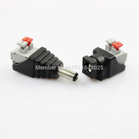 Female + Male Mark Polarity DC Power Jack Connector Adapter 2 pin connector For 5050 3528 Single Color LED Strip Light