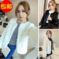 winter white fur coat for woman fashion elegant jacket woman's solid color long-sleeve slim short design coat