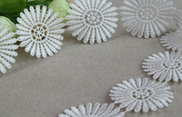 4.5CM white color lace soluble embroidery lace fabric exclusive lace DIY handmade  15yard/Lot LS30