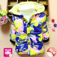 retail wholesale baby coats hooded winter cotton warm kids clothes children outerwear camouflag panya R221