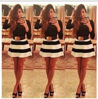Autumn Party Dress 2014 New Winter Fashion Women Slim Casual Dress Long Sleeve Black White Striped Dresses Vestidos Femininos