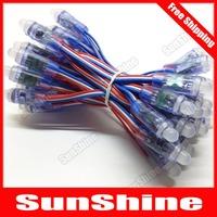 Free Shiping 100 pcs RGB LED Pixel Module WS2811 Exposed Light String RGB Lamp Waterproof IP65 DC5V 12mm 50pcs a strand strip