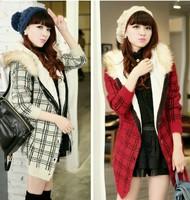 2014 Winter New Black/Red/Yellow Korea Women Winter Jacket Coat Warm Outerwear Fur Hooded Casual Loose Cardigan