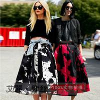 2014 saias femininas vintage silk printed skirt high waist saia longa  ball gown skirts womens