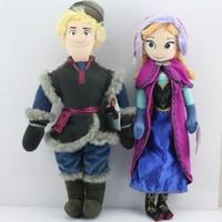 2pcs/set 2014 New Frozen Kristoff Plush Dolls Stuffed Elsa Anna plush Soft Toys Baby Toy Girls Christams Birthday Party Gift